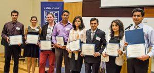 Poster competition winners (from left): Nima Moazen (Honorable Mention, MASc), Karen D. Robles Arellano (3rd Place, MASc), David Kadish (2nd Place, MASc), Mostafizur Rahaman (1st Place, MASc), Nilufar Islam (1st Place, Donald McLean Roberts Award, PhD), Anant Parghi (2nd Place, PhD), Ouldooz Balazadegan (3rd Place, PhD), and Mojtaba Komeili (Honorable Mention, MASc).