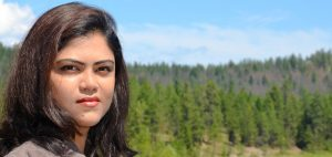 PhD candidate Nilufar Islam, pictured at the McKinley Reservoir, is studying the idea of booster chlorination along water distribution networks in a way to get clean water into every home in BC.