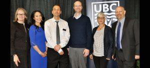 UBC Okanagan Deputy Vice-Chancellor and Principal Deborah Buszard (far left) and UBC Okanagan Vice-Principal Research Philip Barker (far right) congratulate award-winning researchers Mary Jung, Jonathan Holzman, Mike Deyholos, and Susan Frohlick.