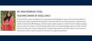 Dr. Mina Hoorfar Recognized for Excellence in Teaching