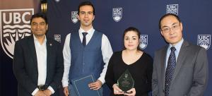 Rehan Sadiq congratulates Pouria Mehrabi, Mina Hoorfar and Yang Cao (Jonathan Holzman was unable to attend)